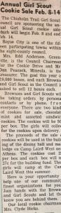 Annual Girl Scout Cookie Sale February 8-14 clipping