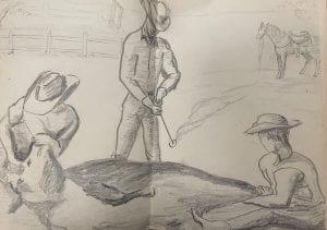 Pencil sketch of three cowboys branding a cow, undated