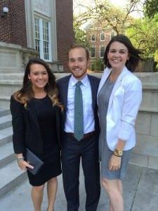 Carissa Laughlin (far left, student ambassador), Jacob Conway, and Emily Hegi (student ambassador)
