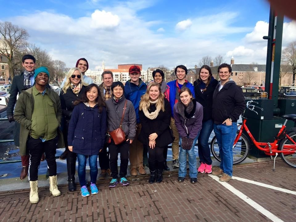 My class, jet-lagged but excited after just landing in Amsterdam.  (From left to right: Back row: Arya McCarthy, Marcus Pinon, Dr. David Doyle, Kenny Martin, Terisha Kolencherry, Daniel Muerhing, Sam Coday, Joseph Di Pane. Front Row: Tyrell Russell, Courtney Tibbetts, Angela Wang, Olivia Nguyen, myself, and Sara Jendrusch)