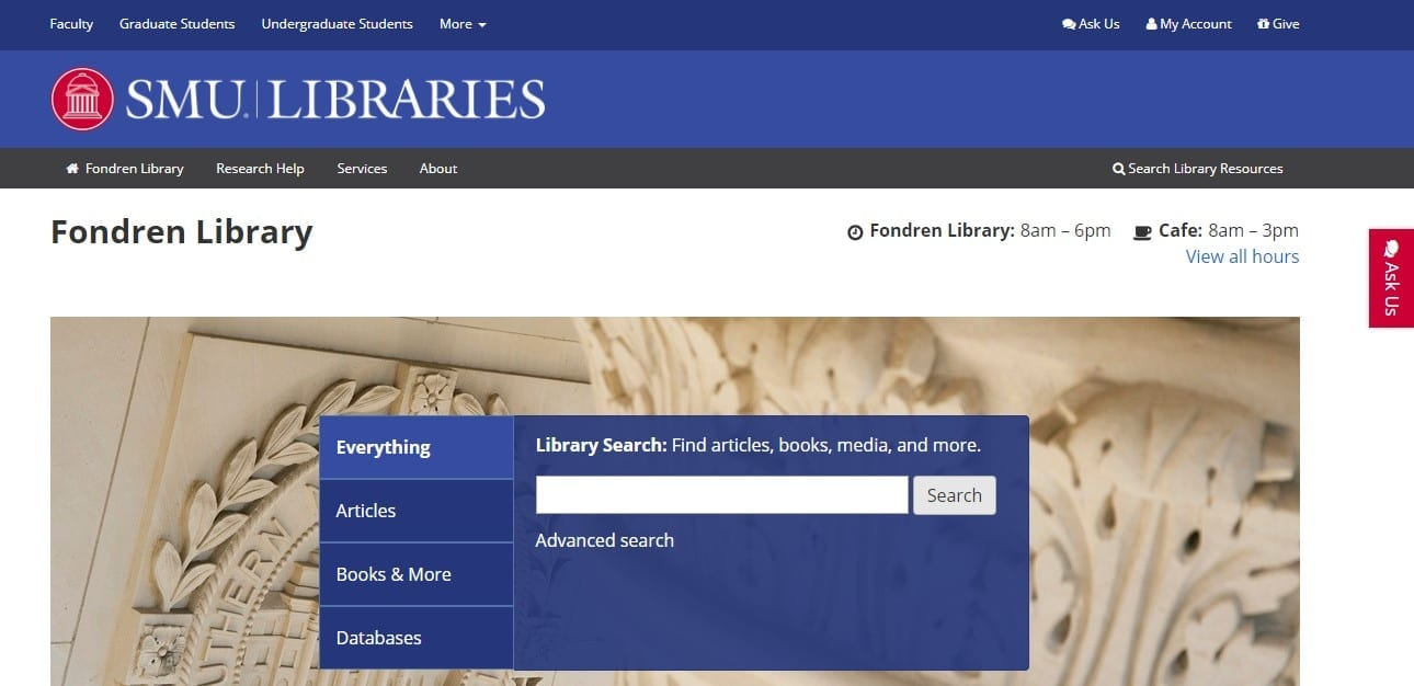 Screen Shot of SMU Libraries Main Page with Ask Us button on the right