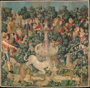 """The Unicorn is Found,"" from the Unicorn Tapestries; Wool warp with wool, silk, silver, and gilt wefts"