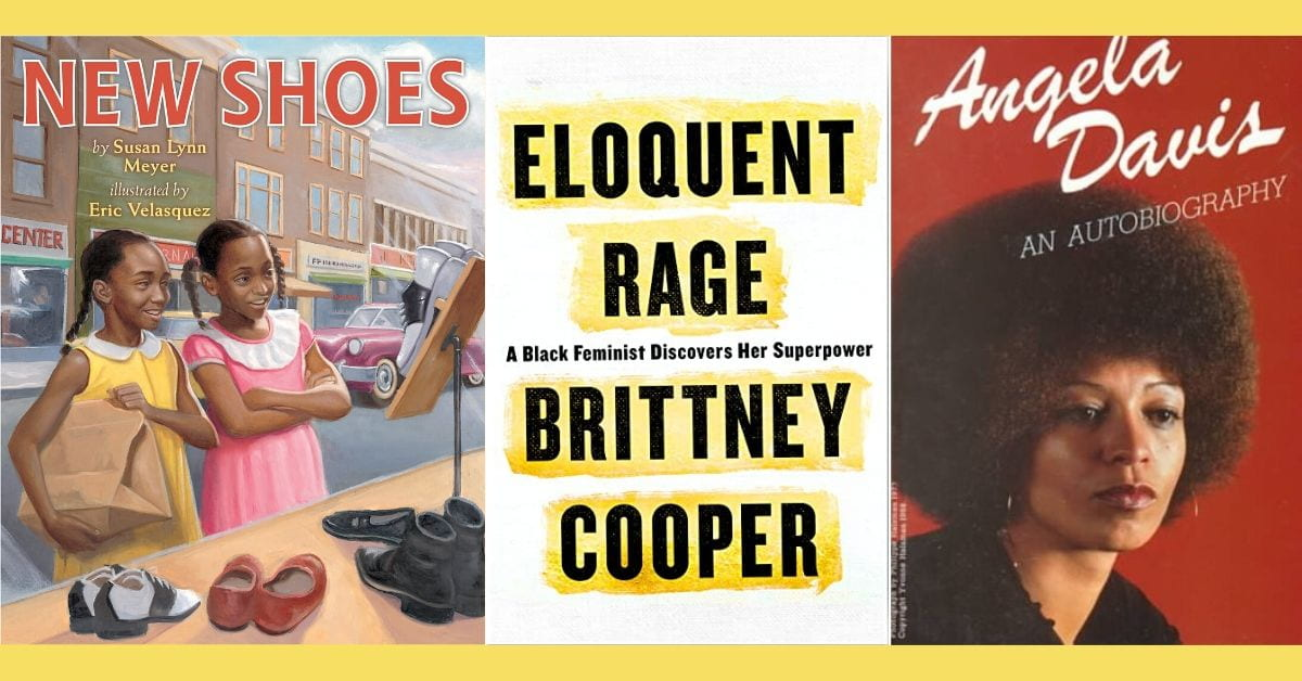 """Book covers for """"New Shoes,"""" Eloquent Rage,"""" and """"Angela Davis Autobigraphy"""
