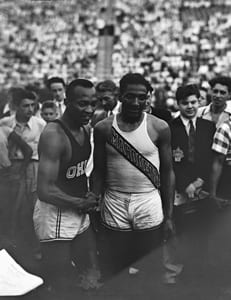 Jesse Owens and Ralph Metcalfe at the 1936 Randall's Island Olympic trials