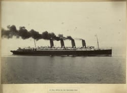 At full speed on the measured mile, Mauretania
