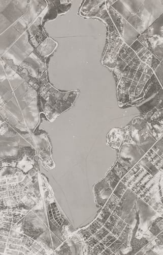 Close up from Grid 08: White Rock Lake (unlabeled), Dallas Aerial Photographs, 1945 USDA Survey