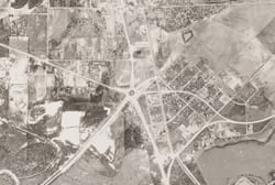 Close up of Grid 02, showing Field Circle, junction of Highways 77 / 114 / 183, Dallas Aerial Photographs, 1945 USDA Survey