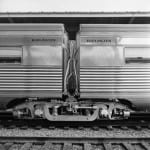 "[Coupled Passenger Cars from ""Texas Zephyr"", with Diaphragm], January 4, 1958, by Everett L. DeGolyer, Jr., DeGolyer Library, SMU."