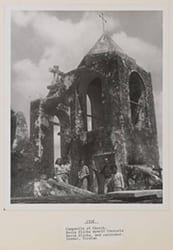 Campanile of Church. Kayla Slivka, myself, Consuelo, David Slivka, and caretaker. Izamal, Yucatan, 1938