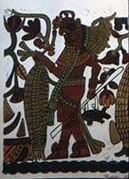 [Temple of the Jaguar. 19B. Block print.], 1938, slide of print by Octavio Medellin