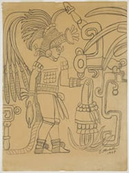 Untitled (Temple of the Tigers, Chichen Itza), 1938, sketch by Octavio Medellin