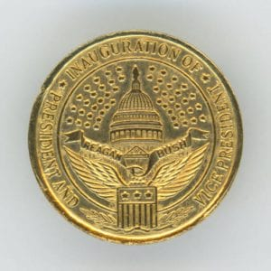 [Ronald Reagan and George Bush Inaugural Sleeve Button], 1981, DeGolyer Library, SMU.