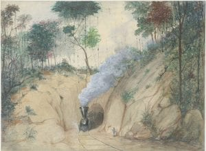 [FCM Train Exiting Tunnel], ca. 1876-1877, by Casimiro Castro, DeGolyer Library, SMU.