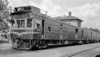 [Atchison, Topeka, & Santa Fe, Gas Electric Railroad Post Office Car M-151], 1950