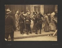 [Chinese civilians with Japanese soldiers at checkpoint], 1937, from the China and Second Sino-Japanese War, 1937-1939, album by Sir Victor Sassoon.