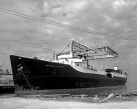 [Seatrain Louisiana at Refinery Dock, Seatrain Lines], 1952, by Robert Yarnall Richie