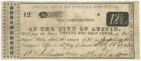 City of Austin 12-1/2 cents (twelve and one half cents) municipal scrip, February 10, 1849, DeGolyer Library, SMU