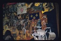 Detail of Texas Under Six Flags Tapestry, February 24, 1958, by Octavio Medellin, Bywaters Special Collections, SMU.