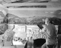 [Frank Mudge Edwards, 87 Years Old, Painting Mural at Pleasure Hill], September 1942, by Robert Yarnall Richie