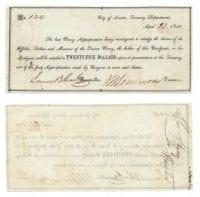 Republic of Texas $25.00 (twenty-five dollars) naval scrip, April 23, 1841