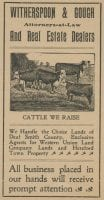Witherspoon & Gough, attorneys-at-law and real estate dealers: we handle the choice lands of Deaf Smith County: exclusive agents for Western Union Land Company lands and Hereford town property, 1900s, DeGolyer Library, SMU
