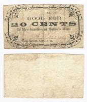 Sutler's Store 20 cents (twenty cents) private scrip, 1862, DeGolyer Library, SMU.