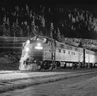 Southern Pacific Dunsmuir yard on a snowy night [No. 8], March 1967, DeGolyer Library, SMU.