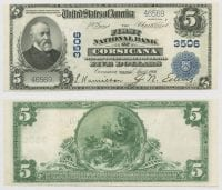 United States $5.00 (five dollars) national currency, April 18, 1906, DeGolyer Library, SMU.
