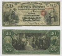United States $20.00 (twenty dollars) national currency, Oct. 2, 1865, DeGolyer Library, SMU.