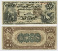 United States $10.00 (ten dollars) national currency, 1889, DeGolyer Library, SMU.