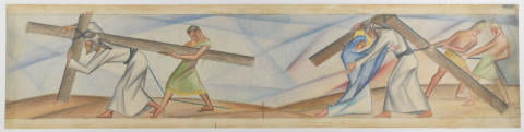 [5th and 4th Stations of the Cross, Preliminary Design Sketch in Colored Pencil, Stations of the Cross Mosaic Murals, Saint Bernard of Clairvaux Catholic Church, Dallas, Texas], ca. 1957-1958, Bywaters Special Collections, SMU.