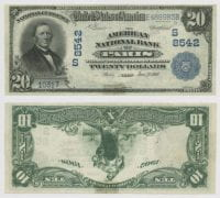 United States $20.00 (twenty dollars) national currency, 1907, DeGolyer Library, SMU.