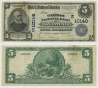 United States $5.00 (five dollars) national currency, 1912, DeGolyer Library, SMU.