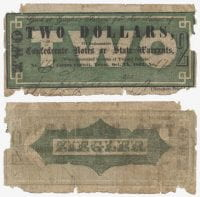 Ziegler's Saloon $2.00 (two dollars) private scrip, 1862, DeGolyer Library, SMU.