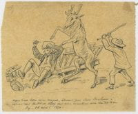 ...Humorous drawing of the incident of the pet deer attack..., April 16, 1870, Bywaters Special Collections, SMU.