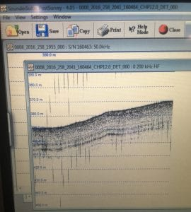 A chirp profile taken at about 400 m ocean depth. You can see some really well defined stratigraphy in the top 20 m of sediment!