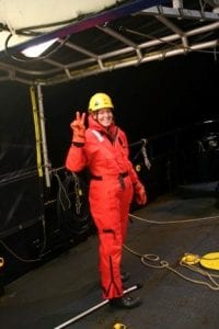 Madie in her mustang suit getting ready in our last heat flow probe recovery. Look how happy she is working in the frigid Arctic!