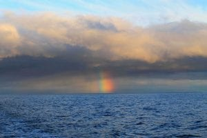 Rainbow seen from the deck of the Norseman II.