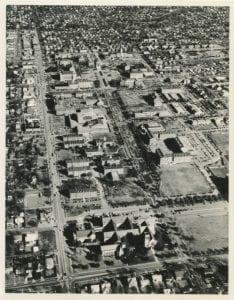 Ariel image of SMU campus circa 1968