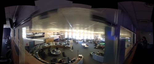 The Large Hadron Collider Main Control Room (panoramic view from a conference room above the control room)