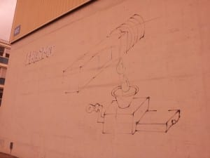 Graffiti on the wall of a building on the French side of the CERN laboratory