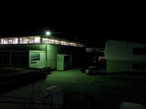 The LINAC-LEIR building at night. LEIR provides lead ions for use in the LHC ion collision program.