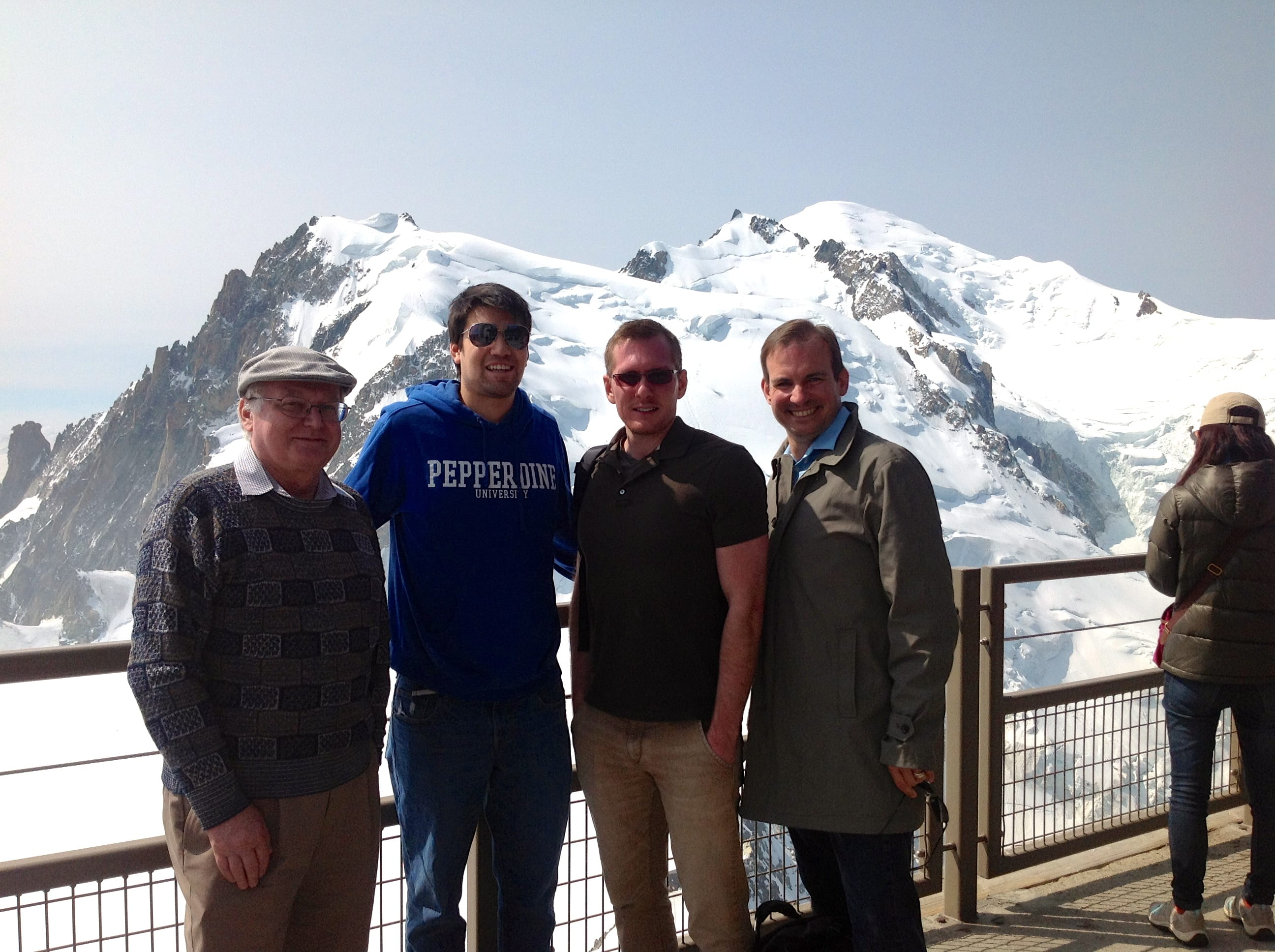 SMU physicists take a break on Mt. Blanc to refresh their creativity. From left to right: Prof. Ryszard Stroynowski, Andrew Turvey, Jeff Hetherly, and Prof. Stephen Sekula.