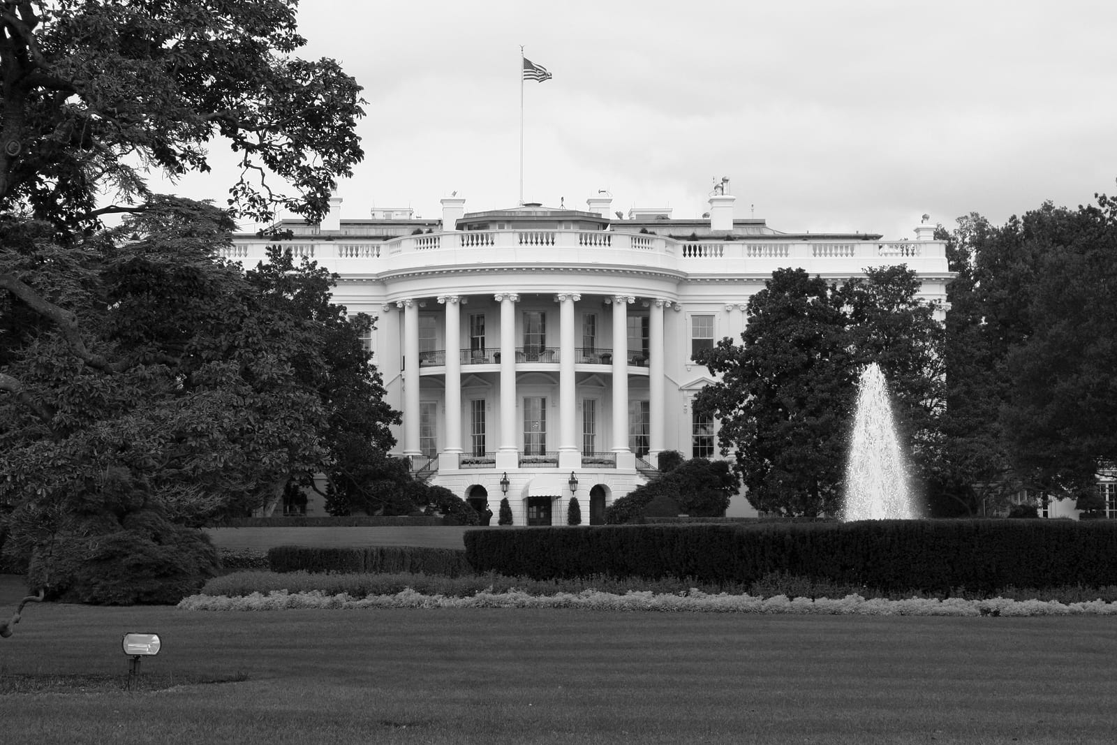 Black and white stock photo of the White House