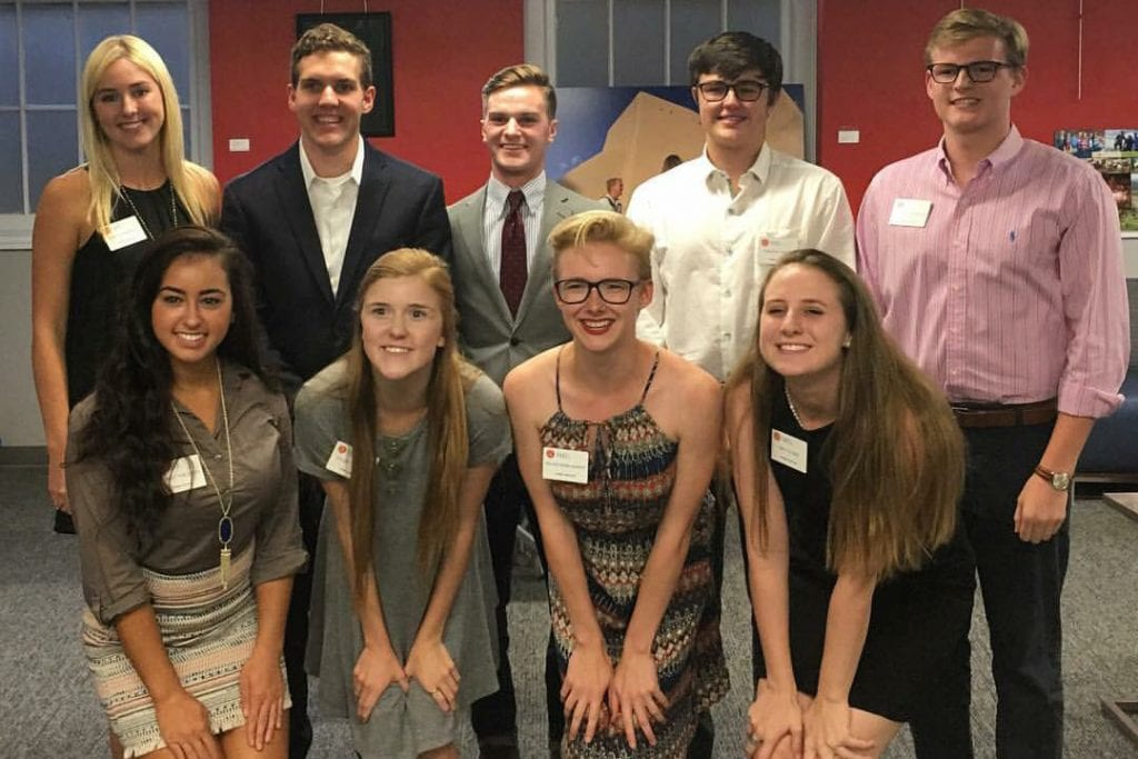 Tower Scholars Beta Cohort, class of 2019: (Back row from left to right) Noelle Kendall, Evan Snyder, Zach Miller, Bradley Potts, Ben Prengler (front row) Syndey Tomlinson, Kelsey Shipman, Destiny Rose Murphy and Emily Elson. Not pictured: Tim Smith