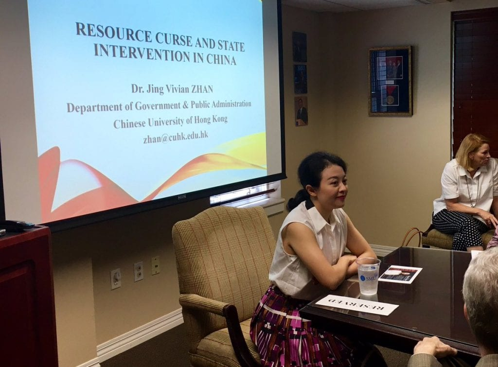 "Chinese University of Hong Kong's Dr. Jing Vivian Zhan before her lecture ""The Resource Curse in China"" Aug. 31."