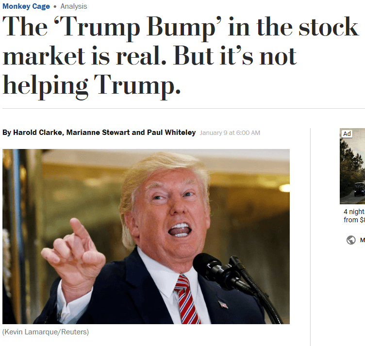 "experts the trump bump in the stock market is real but it s   stewart authored a post for the washington post s monkey cage blog paul whiteley the essay ""the trump bump in the stock market is real"