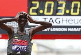 2:03:07 is a pretty stupendous marathon time. It's fast enough to get you first place in the 2016 London Marathon, as Kenya's Eliud Kipchoge learned. Could another runner someday shave another three minutes and eight seconds off that time? JUSTIN TALLIS/AFP/GETTY IMAGES