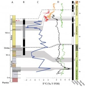 Chemostratigraphy and magnetostratigraphy of Bentiaba section. (Credit: Strganac)