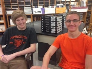 Lake Highlands High School students Dominik Fritz (left) and Jason Barton collected data until they had what they needed to define their star-to-be as a variable — a star that changes brightness. (Credit: KERA)